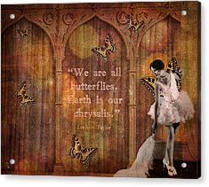 Vintage Woman We Are All Butterflies Acrylic Print