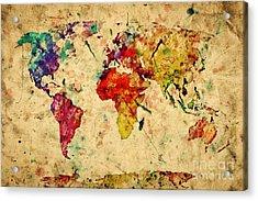 Vintage World Map Acrylic Print