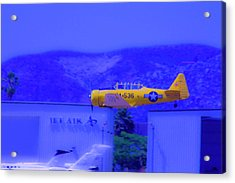 Vintage Yellow Airplane Acrylic Print by Terry Thomas