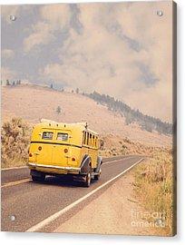 Vintage Yellowstone Bus Acrylic Print by Edward Fielding