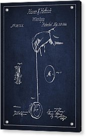 Vintage Yoyo Patent Drawing From 1866 Acrylic Print