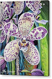 Acrylic Print featuring the painting Violet Dotted Orchid by Jane Girardot