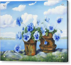 Violets On The Beach Acrylic Print by Veikko Suikkanen