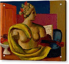 Violin And Bust Acrylic Print by Mark Gertler