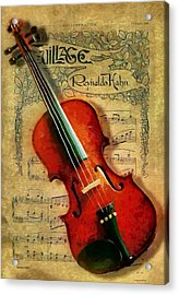 Acrylic Print featuring the painting Violin And Notes by Kai Saarto