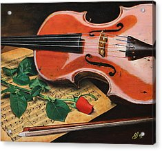 Violin And Rose Acrylic Print by Glenn Beasley