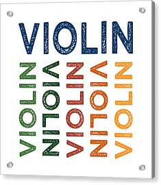 Violin Cute Colorful Acrylic Print by Flo Karp
