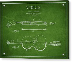 Violin Patent Drawing From 1928 Acrylic Print