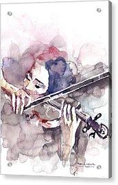 Acrylic Print featuring the painting Violin Prelude by Faruk Koksal