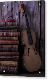 Violin With Old Books Acrylic Print
