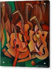 Violins With Mandolin Acrylic Print by Kim Gauge