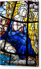 Virgin Mary In Stained Glass Acrylic Print by Dancasan Photography