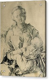 Virgin Mary Suckling The Christ Child, 1512 Charcoal Drawing Acrylic Print by Albrecht Durer or Duerer