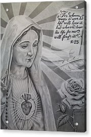 Virgin Mary With Flower Acrylic Print by Anthony Gonzalez