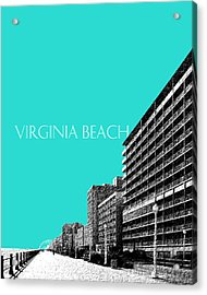 Virginia Beach Skyline Boardwalk  - Aqua Acrylic Print by DB Artist