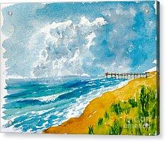 Virginia Beach With Pier Acrylic Print