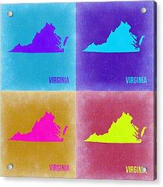 Virginia Pop Art Map 2 Acrylic Print by Naxart Studio