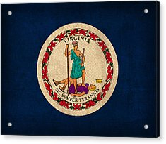 Virginia State Flag Art On Worn Canvas Acrylic Print