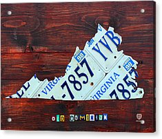 Virginia State License Plate Map Art On Fruitwood Old Dominion Acrylic Print by Design Turnpike