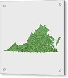 Virginia State Map Green Hexagon Pattern Acrylic Print by FrankRamspott