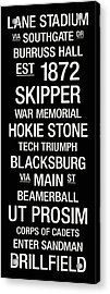 Virginia Tech College Town Wall Art Acrylic Print