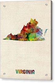 Virginia Watercolor Map Acrylic Print