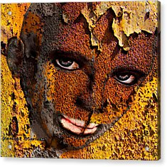 Virtual Face In Grafitti Acrylic Print by Yvon van der Wijk