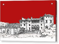 Viscaya Museuem And Gardens In Scarlet Acrylic Print