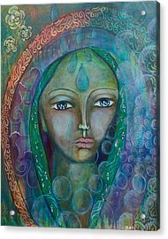 Visioning Woman Of Living Waters Acrylic Print by Havi Mandell