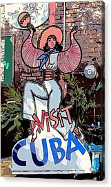 Visit Cuba Sign Key West - Digital Acrylic Print
