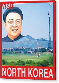 Visit North Korea Travel Poster Acrylic Print by Finlay McNevin