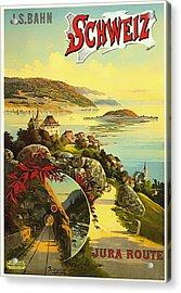 Visit Switzerland 1895 Acrylic Print by Mountain Dreams