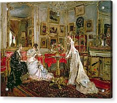 Visiting Acrylic Print by Alfred Emile Stevens