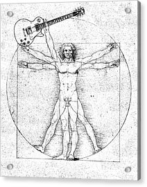 Vitruvian Guitar Man Bw Acrylic Print