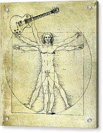 Vitruvian Guitar Man Acrylic Print by Jon Neidert