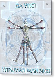 Vitruvian Man 3000 Acrylic Print by Frederico Borges