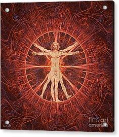 Vitruvian Man Brown Acrylic Print by Gaia Ragu