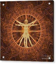 Vitruvian Man Copper Acrylic Print by Gaia Ragu