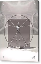 The Vitruvian Android Acrylic Print by Quim Abella