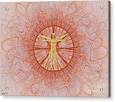Vitruvian Man Orange Acrylic Print by Gaia Ragu