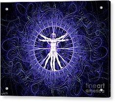 Vitruvian Man Violet Acrylic Print by Gaia Ragu