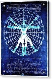 Vitruvian Spiderman White In The Sky Acrylic Print