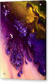 Vivid Abstract Art Purple Fugitive-gold Tones Fluid Painting By Kredart Acrylic Print