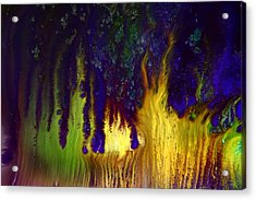Vivid Abstract Flaming Darkness By Kredart Acrylic Print