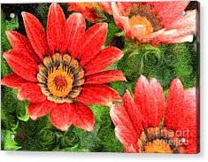 Vivid Orange African Daisy Digital Oil Painting Acrylic Print