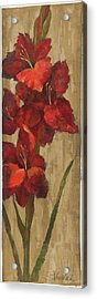 Vivid Red Gladiola On Gold Acrylic Print