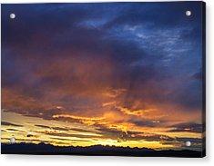 Vivid Sunset Over The Rocky Mountain Acrylic Print by Chuck Haney