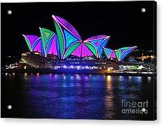 Vivid Sydney By Kaye Menner - Opera House... Patterns 2 Acrylic Print by Kaye Menner