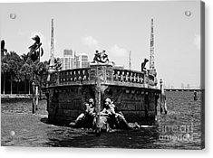 Vizcaya Breakwater Ship Bow And Skyline Biscayne Bay Coconut Grove Miami Florida Black And White Acrylic Print