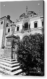 Vizcaya Mansion Museum Veranda View Coconut Grove Biscayne Bay Miami Florida Black And White Acrylic Print by Shawn O'Brien